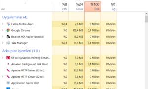 Windows Yüzde 100 Disk Kullanımı Sorunu Çözümü