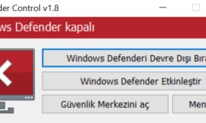 Windows Defender'i Devre Dışı Bırakma
